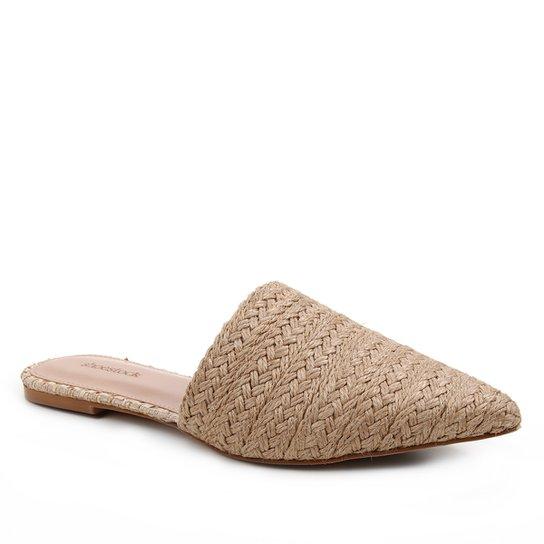 Mule Shoestock Flat Corda Trançada - Areia