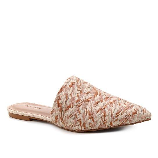 Mule Shoestock Flat Corda Trançada - Nude+Caramelo