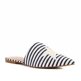 Mule Shoestock Flat Tecido Fundo Do Mar