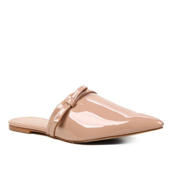 Mule Shoestock Naked Verniz Laço Bico Fino Feminina - Noz