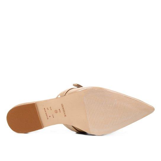 Mule Shoestock Naked Verniz Laço Bico Fino Feminina - Castanha