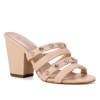 Mules Shoestock Couro Salto Alto Tiras Strass