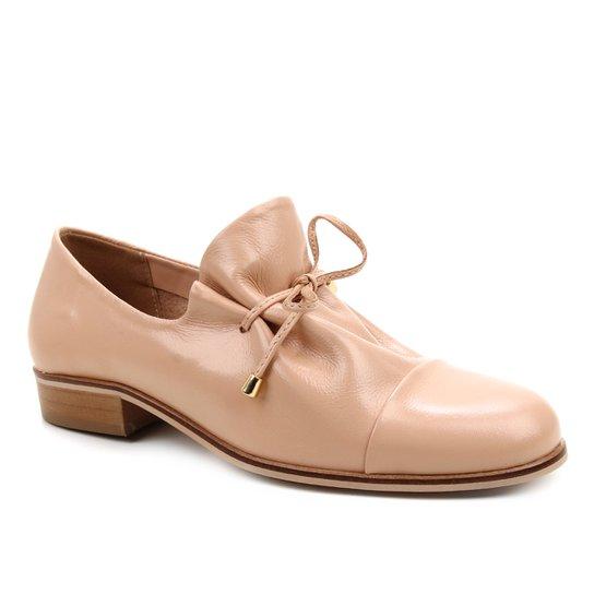 Oxford Couro Shoestock Amarração Feminino - Nude