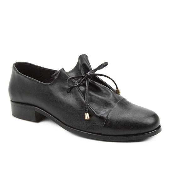 Oxford Couro Shoestock Amarração Feminino - Preto