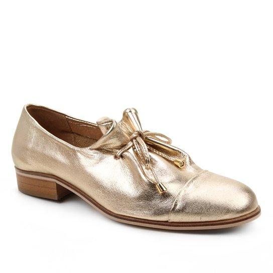 Oxford Couro Shoestock Amarração Feminino - Dourado