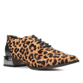 Oxford Couro Shoestock Bico Fino Onça Feminino