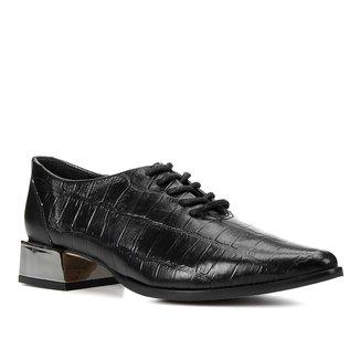 Oxford Couro Shoestock Bico Fino Salto Cromado Feminino