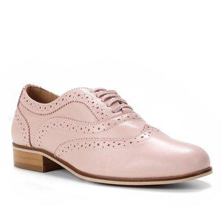 Oxford Couro Shoestock Brogue Amarração Feminino