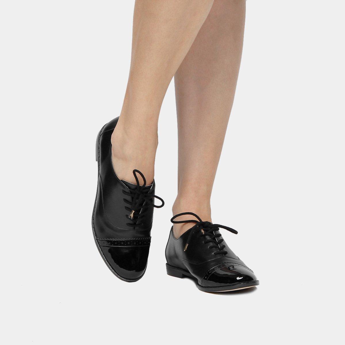 42a3468c0b Oxford Couro Shoestock Brogues Bicolor Feminino