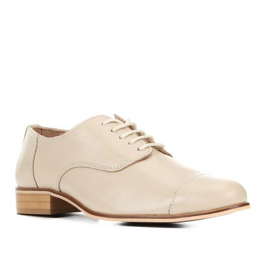 Oxford Couro Shoestock Fachete Feminino - Bege