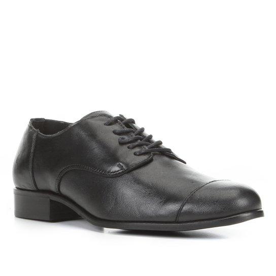 Oxford Couro Shoestock Fachete Feminino - Preto