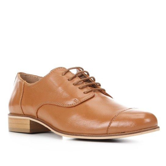 Oxford Couro Shoestock Fachete Feminino - Caramelo