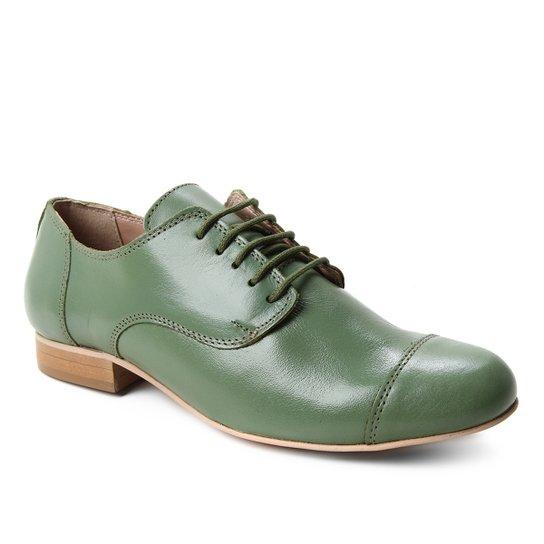 Oxford Couro Shoestock Fachete Feminino - Verde Militar