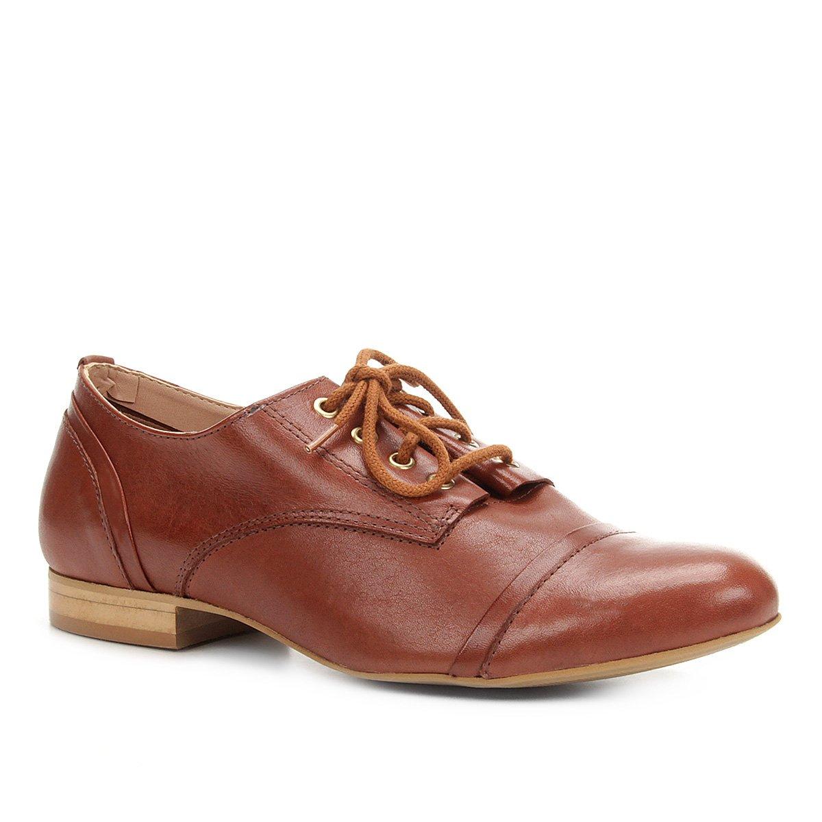 2add84db8 Oxford Couro Shoestock Feminino - Marrom - Compre Agora