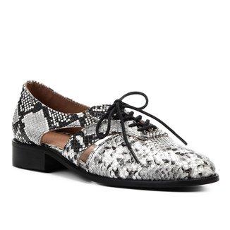 Oxford Couro Shoestock Wild Snake Feminino