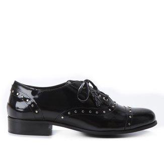 Oxfords Couro Shoestock Metais Feminino