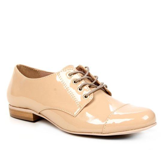 Oxfords Shoestock Verniz Feminino - Castanha