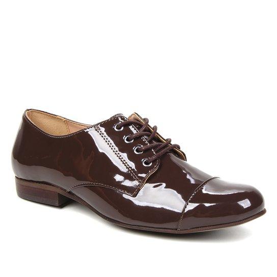 Oxfords Shoestock Verniz Feminino - Cacau