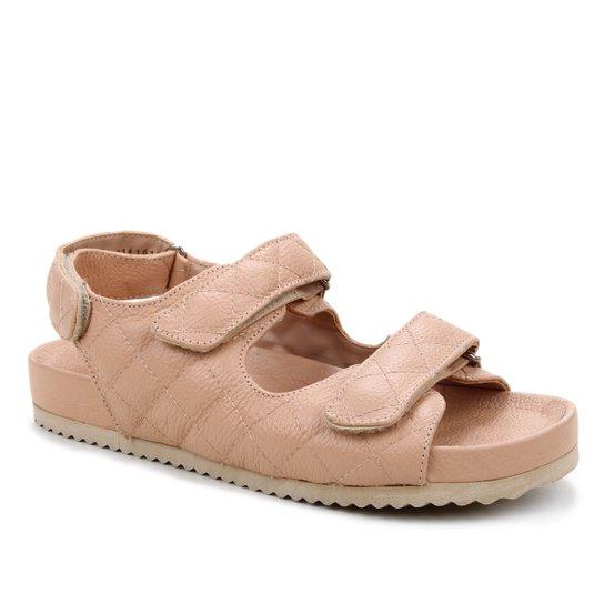 Papete Couro Shoestock Matelassê - Nude