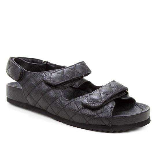 Papete Couro Shoestock Matelassê - Preto