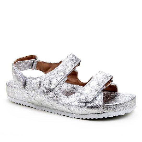 Papete Couro Shoestock Matelassê - Prata