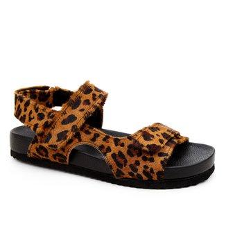 Papete Couro Shoestock Pelo Animal Print Onça