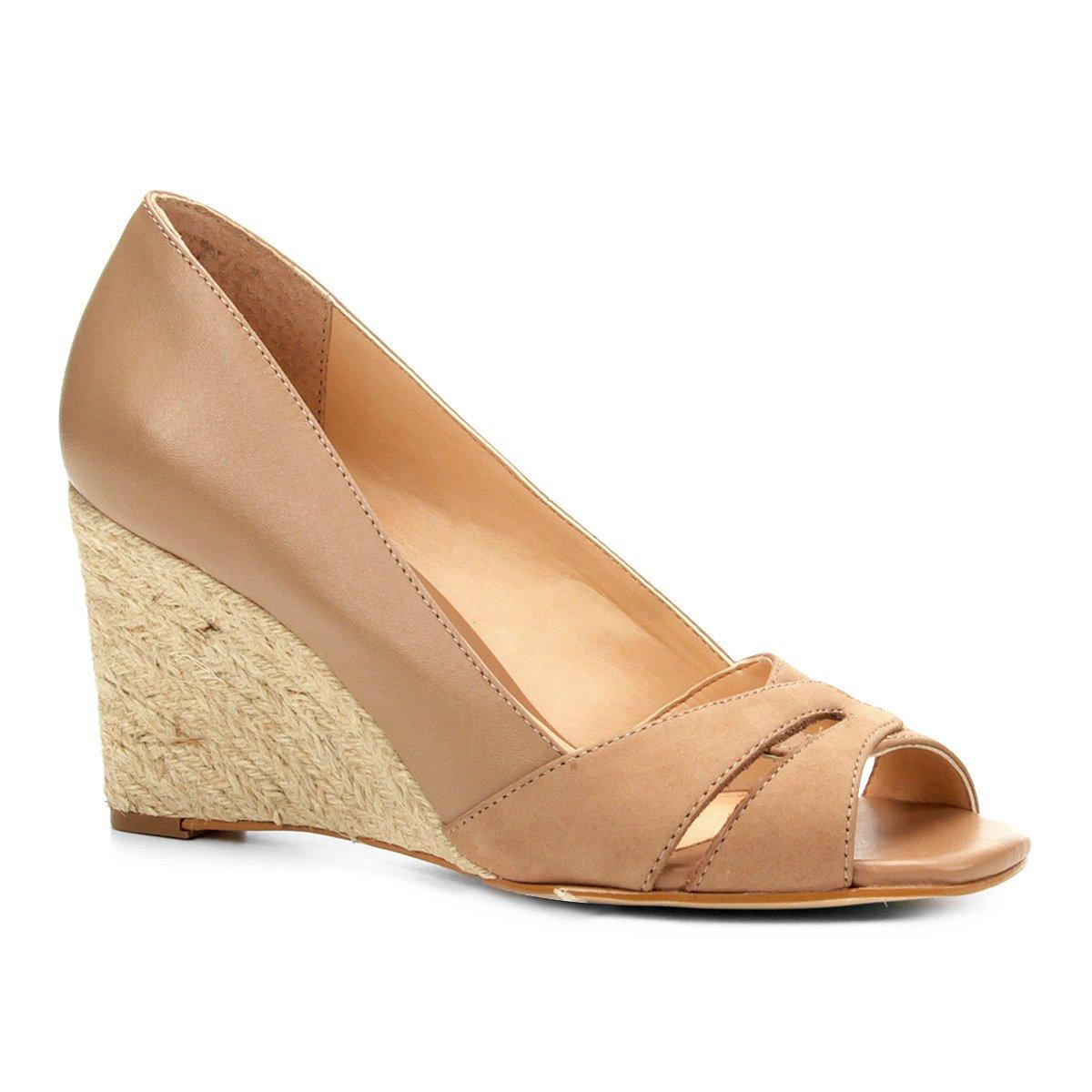 d926e6c740 Peep Toe Anabela Shoestock Corda Mix Couros - Nude