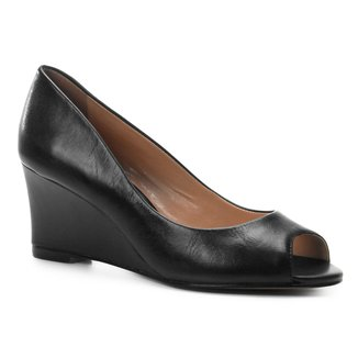 Peep Toe Couro Shoestock Anabela Confort