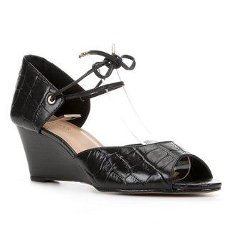 Peep Toe Couro Shoestock Anabela Croco Amarração