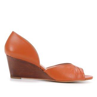 Peep Toe Couro Shoestock Anabela Salto Médio