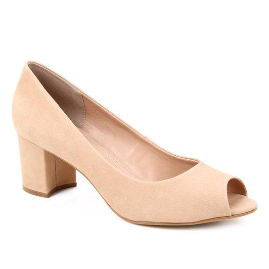 Peep Toe Couro Shoestock Basic Salto Bloco Medio - Nude