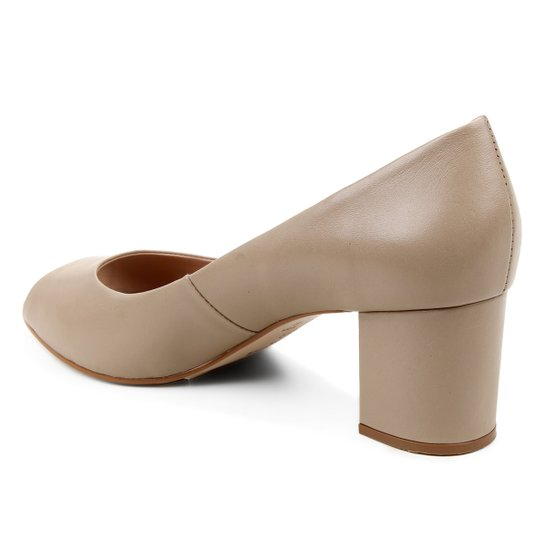 Peep Toe Couro Shoestock Basic Salto Bloco Medio - Bege