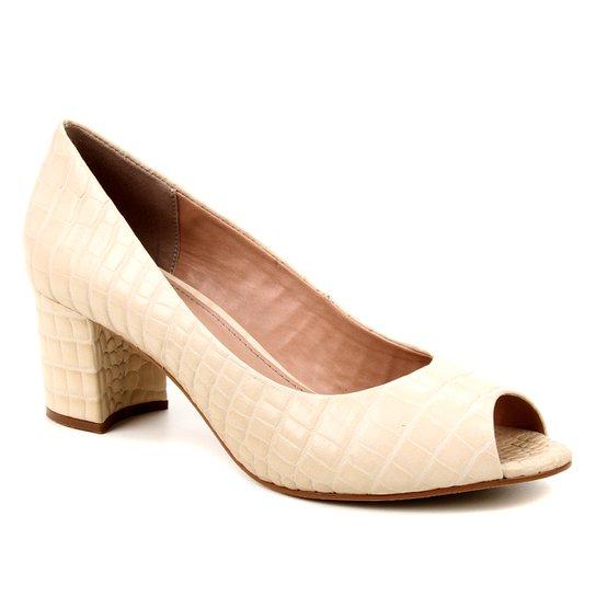 Peep Toe Couro Shoestock Basic Salto Bloco Medio - Off White