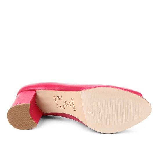 Peep Toe Couro Shoestock Basic Salto Bloco Medio - Rosa