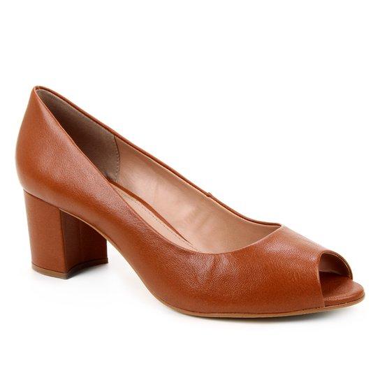 Peep Toe Couro Shoestock Basic Salto Bloco Medio - Marrom