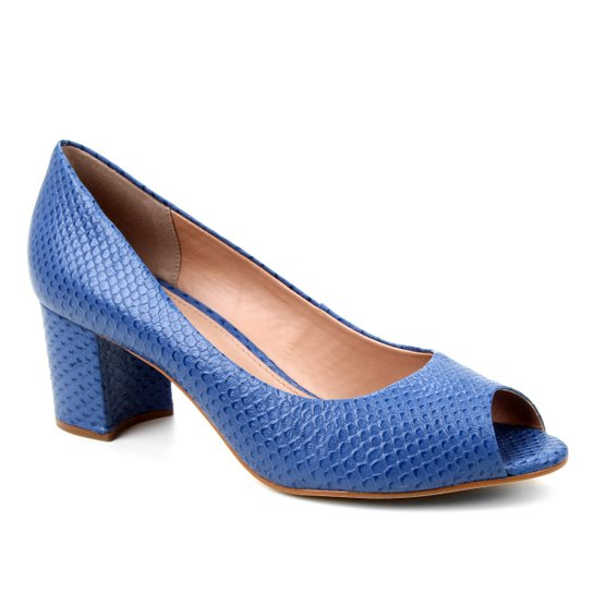 Peep Toe Couro Shoestock Basic Salto Bloco Medio - Azul Petróleo
