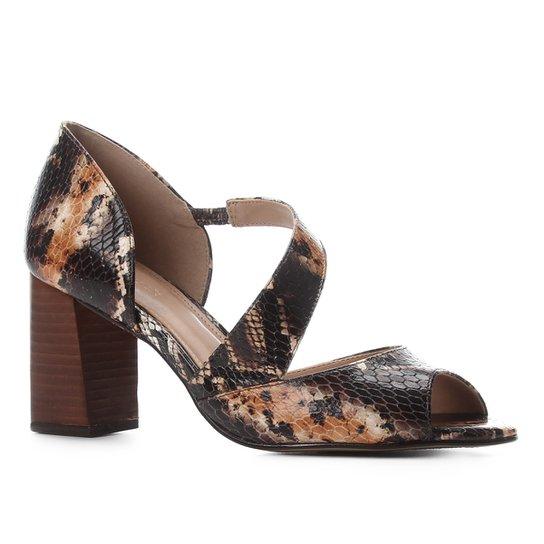 Peep Toe Couro Shoestock Cobra Salto Bloco - Caramelo