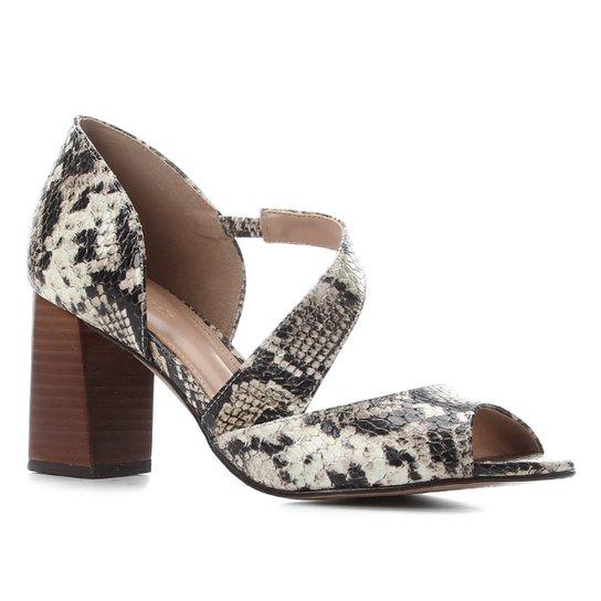 Peep Toe Couro Shoestock Cobra Salto Bloco - Off White+Preto
