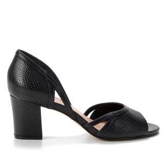Peep Toe Couro Shoestock Cobra Sensation Salto Bloco Feminino