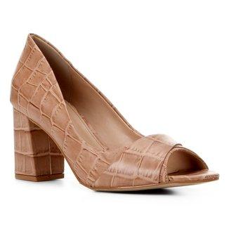 Peep Toe Couro Shoestock Croco Salto Bloco Médio