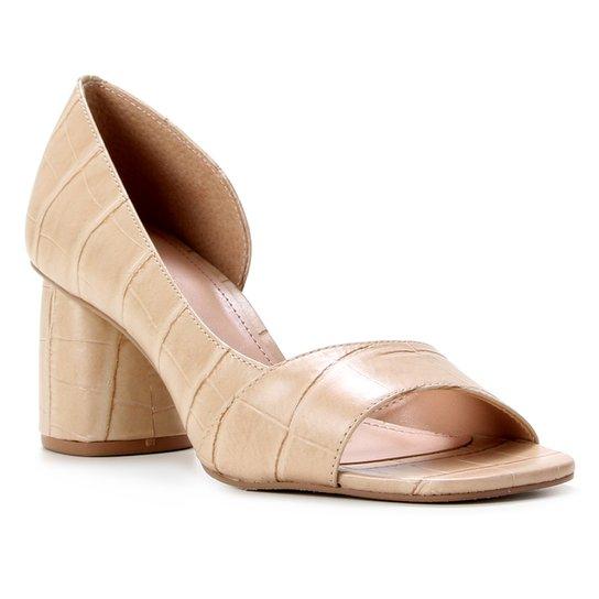 Peep Toe Couro Shoestock Croco Salto Médio - Bege