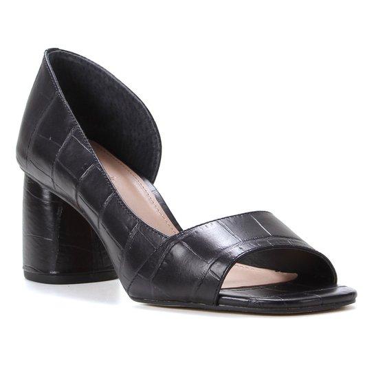 Peep Toe Couro Shoestock Croco Salto Médio - Preto