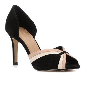 Peep Toe Couro Shoestock Curves Salto Alto