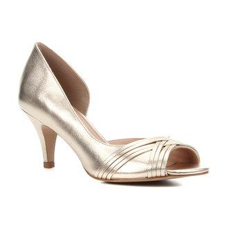 Peep Toe Couro Shoestock Metalizado Salto Médio Tiras