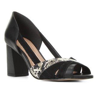 Peep Toe Couro Shoestock Mix Materiais Salto Médio