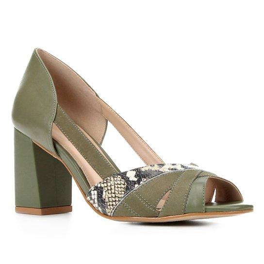 Peep Toe Couro Shoestock Mix Materiais Salto Médio - Verde