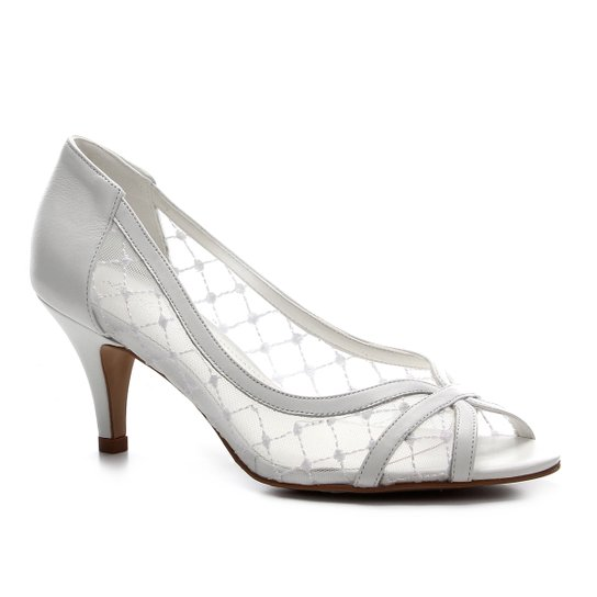 Peep Toe Couro Shoestock Noiva Tela - Branco
