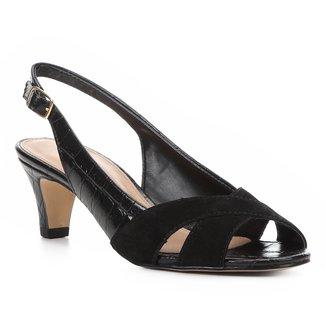 Peep Toe Couro Shoestock Salto Baixo Slingback