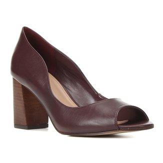 Peep Toe Couro Shoestock Salto Bloco Médio Fachete