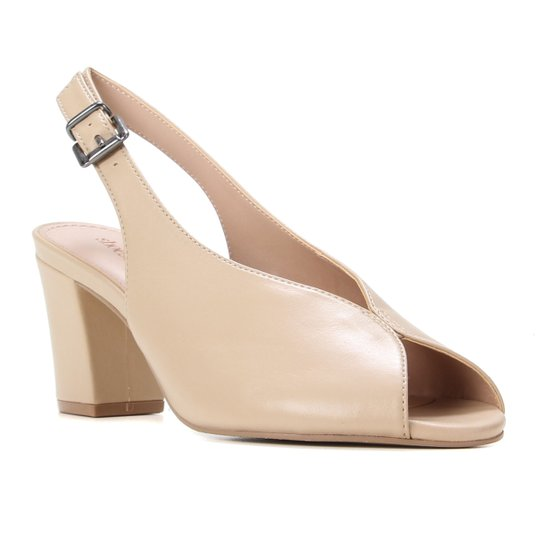 Peep Toe Couro Shoestock Salto Bloco Slingback - Bege